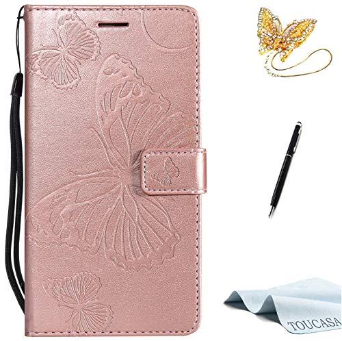 TOUCASA Galaxy S7 Handyhülle,Galaxy S7 Hülle, Brieftasche Flip PU Leder ledercase Magnet Leder Hülle 3D Schmetterling fürSamsung S7-(Roségold)