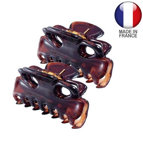 Accessoires cheveux Pinces – 2 pinces pour cheveux français cm 3 color Tortue Lot de 2 pièces