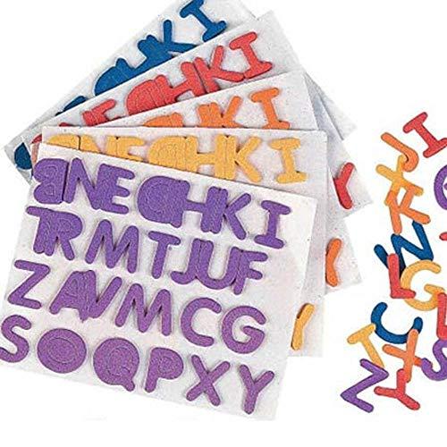 Mottofuchs 6 pegatinas con letras del abecedario ABC, 156 letras autoadhesivas, goma musgosa para comienzo del colegio o para escribir sobre cumpleaños