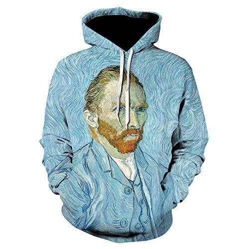 XieyunZF 3D Printed Hoodies Retro Hip Hop Pullover Van Gogh Oil Painting Hoodie Novelty Streetwear Funny Caot-We-1059_Asian_Size_M