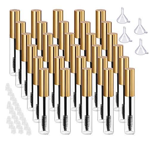 30 Stks 10 ML Lege Mascara Buis en Wand Lege Mascara Containers Lege Wimper Buizen Fles voor Castor Olie met Rubber Inserts, 4 Trechters voor Mascara Monsters Reisaccessoire