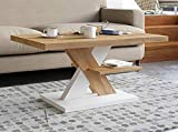 Viosimc Cliff Mesa de Centro Moderna, Color Roble – Blanco, Mesa de Café con Estante de Almacenamiento, para Salón Mesa Baja Salon, Fácil de Montar