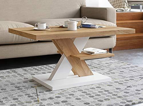 Viosimc Couchtisch Eiche & Weiß, Moderner Wohnzimmertisch Sofatisch Kaffeetisch, Modern Matt Sofa Tisch mit Großer Ablage, Mittel- oder Beistelltisch für Tee und Kaffee…