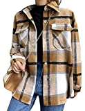 Tanming Womens Wool Blend Plaid Lapel Button Short Pocketed Shacket Shirts Coats(Khaki-S)
