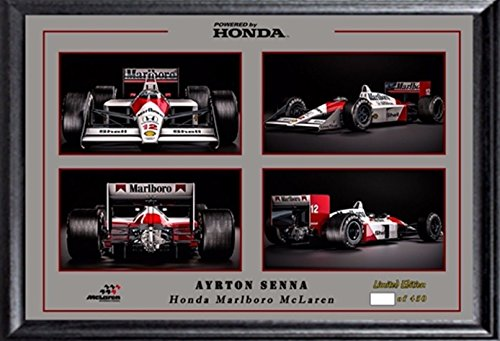 SGH SERVICES - Póster Enmarcado de Ayrton Senna Firmado autografiado preimpresión F1 McLaren Honda Campeón del Mundo Marco de MDF #10