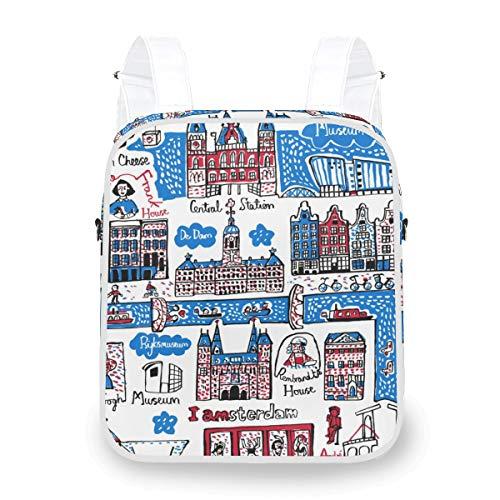 LORONA Damen Dual-Purpose Rucksack, Artwork Amsterdam Crossbody Bag Mini Rucksack