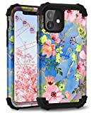 Hocase iPhone 11 Case, Heavy Duty Shockproof Protection Hard Plastic+Silicone Rubber Bumper Hybrid Protective Phone Case for iPhone 11 (6.1') 2019 - Pink Flowers/Golden Glitters