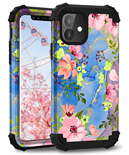 """Hocase iPhone 11 Case, Heavy Duty Shockproof Protection Hard Plastic+Silicone Rubber Bumper Hybrid Protective Phone Case for iPhone 11 (6.1"""") 2019 - Pink Flowers/Golden Glitters"""