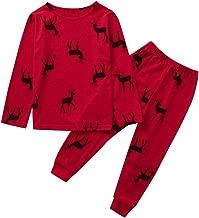 Jeash Merry Christmas Children Kids Cartoon Deer Printed Casual Top+Pants Xmas Family Clothes Pajamas, Christmas Boys and Girls Sleepwears Sets