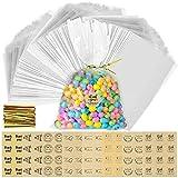 Vegco - Lote de 200 bolsas de plástico transparentes con 192 etiquetas y 300 enlaces, bolsa de celofán para galletas (14 x 20 cm)