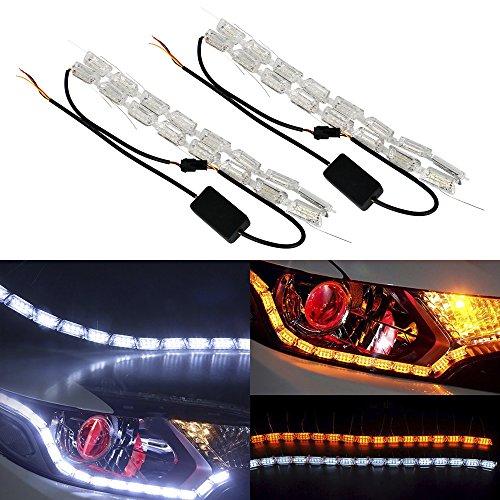 Ruick 2 Pcs LED Circulation Diurnes Coule Tour Signal Light Car Bande Lumineuse Phare LED Ambre Blanc DRL Lampe De Brouillard