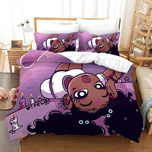 kxry Black Girl Magic Bedding Set Full Size African American Girls Cute Afro Woman Duvet Cover for Women Kids Teens 1 Duvet Cover + 2 Pillow Shams
