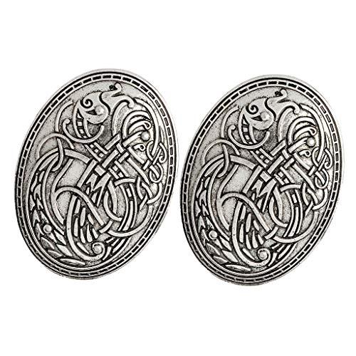 sharprepublic 2X Vikingos Nórdicos Pin Amuleto Suecia Escandinavo Dragón Broche Retro Plata