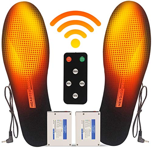 CHEROO Electric Heated Insoles with Remote Controller for Men& Women, Rechargeable Battery Insoles Foot Warmers for Winter Hunting Boots Shoes Sneaker, Outdoor Hunting, Fishing, Shoveling Snow