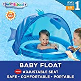 SwimSchool Blue Fun Fish Fabric Baby Pool Float, Splash & Play Activity Center, Dual Air Pillow Chambers with Retractable Canopy and Safety Seat, Baby Float, UPF 50, 6 To 24 Months, Blue