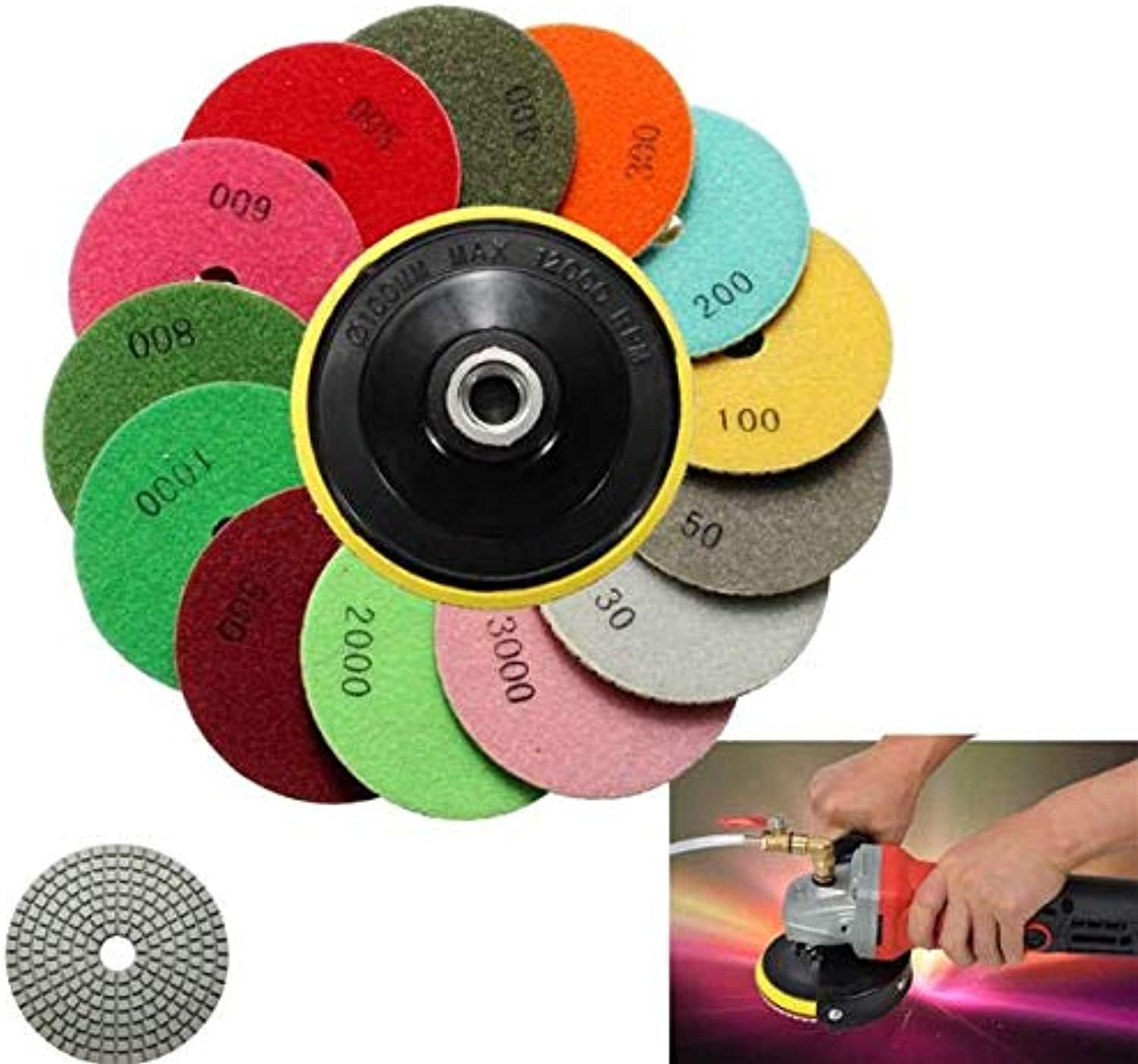 14pcs 4 Inch 100mm 30-3000 Grit Wet Dry Polishing PadsPower Tool Parts Abrasive Tools -14 x Polishing Pads