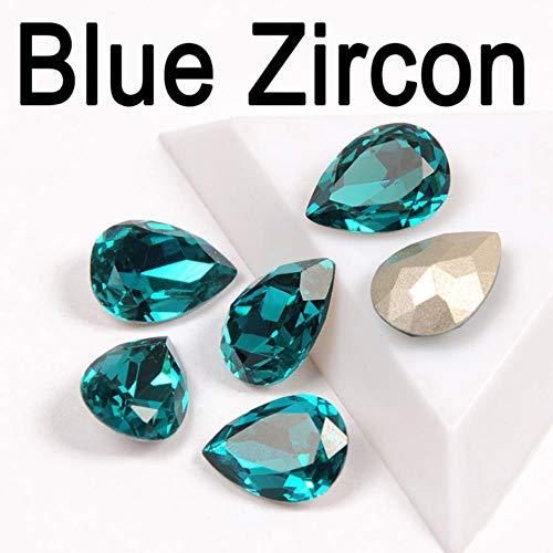 Multi kleuren Crystal Drop Peer Strass met Instelling Strass Naaien Op Glas Stenen DIY Kleding Sieraden Ring Hanger Dress,Blauwe Zirkoon, 10x14mm 12 stks