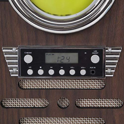 iTek Table Top Jukebox with CD Player, FM Radio and Bluetooth Connection, Remote Control Included, Wood Finish