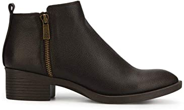 Kenneth Cole New York Womens Levon Solid Stacked Heel Ankle Boots