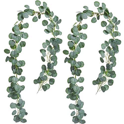 tmtonmoon 200cm/ 6.56 ft Plantas Hiedra Artificial Eucalipto Guirnalda Colgante Verde Hojas Vines de Seda Falsa Planta Exterior Interior Decoracion Boda Fondo Pared Decoración 2 Pieza