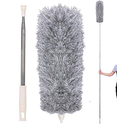 EigPluy Plumero de Microfibra,Plumero Atrapapolvo Extensible con Poste Telescópico Largo de 100 Pulgadas(2.8m),Cepillo de Limpieza para Telarañas de Polvo en Ventiladores Luces Persianas