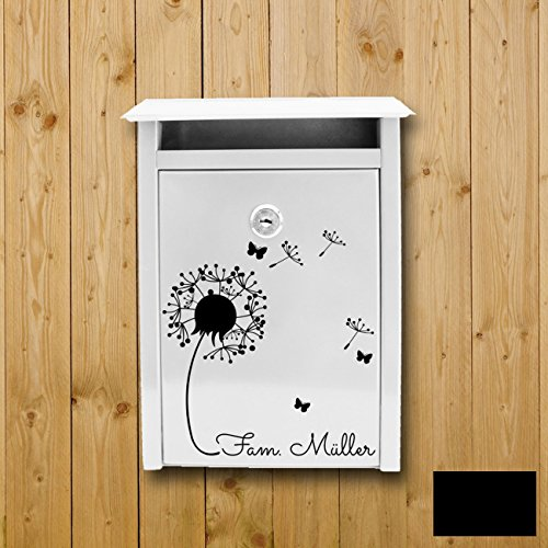 ilka parey wandtattoo-welt® Wandtattoo Briefkastenaufkleber Aufkleber Sticker Blume Pusteblume mit Familiennamen Wunschnamen M1877 ausgewählte Farbe: *schwarz* ausgewählte Größe: *S - 25cm breit x 28cm hoch*