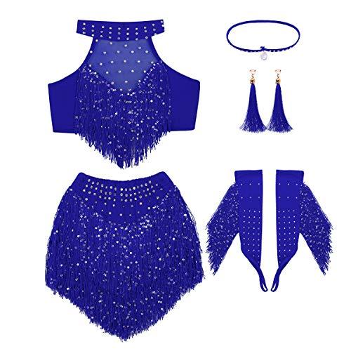 YiZYiF Vestiti da Ballo Latino Jazz delle Ragazze 4-7 PCS Glitter Vestito di Danza del Ventre della Sfera di Ballo Vestito della Frange Nappa Outfits in Blu Rosa Paillettes A Blu 3-4 Anni