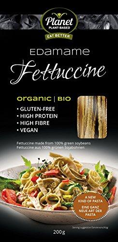 Fettuccine Edamame di Planet Plant-Based, (1 x 200g) , Pasta Orgánica y Gluten Free: Fideos Ricos En Proteína 100% Hechos de Soja. Veganos. Bajos En Calorías y Ricos En Fibra.
