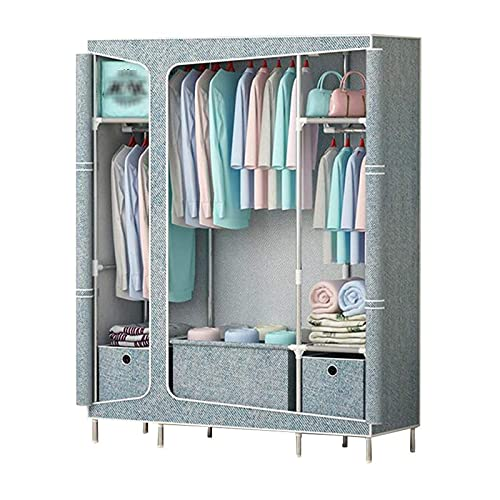 Portable Wardrobe Clothes Dust Proof Closet Storage Organizer with Non-Woven Fabric,Freestanding Portable Closet Strong Shelves,Quick And Easy To Assemble,A
