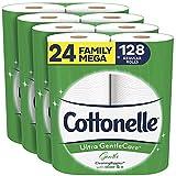 Cottonelle Ultra GentleCare Gentle Toilet Paper with Aloe & Vitamin E, 24 Family Mega Rolls, Gentle Bath Tissue (24 Family Mega Rolls = 128 Regular Rolls)