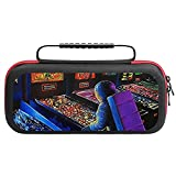 Pi-nball- Wiza-rd Carry Case for Nintendo Switch - Hard Shell Travel Carrying Storage Case for Nintendo Switch with 20 Game Cards Holders for Switch Console Pro Controller & Accessories Black