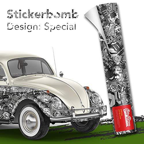 Stickerbomb Folie - Alle Designs - alle Größen! Ob Glänzend oder matt, bunt oder schwarz/weiß! Für blasenfreies 3D Car Wrapping mit echten Marken Sticker Bomb Logo Aufklebern- JDM (50x150cm, SD schwarz weiß matt)