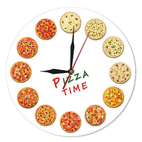 YJSMXYD Orologio da Parete Different Sastes Pizza Time Modern Italy Dreams Kitchen Decor Stile Napoletano Italiano Food Art Gastronomo Regali Soggiorno Camera da Letto per Hotel Cucina Familiare