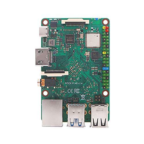 smartFly info Rock Pi 4B RK3399 Kit de computadora de placa única LPDDR4 4GB con banda dual 2.4 / 5GHz WLAN / Bluetooth 5.0