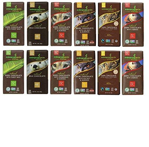 Endangered Variety Pack 6 Flavors Pack of 12 Dark Choc with Lemon  Dark Choc w Sea Salt amp Almonds Dark Choc w Cherry Rain Forest Dark Mint Wolf Dark Choc w Cranberry Almond 48% Milk Choc