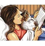 VVNASD Puzzle De 1000 Piezas para Infantiles Mujer Sosteniendo Un Gato Leyendo Un Libro Foto De Arte Moderno Madera Juguetes Divertidos Juegos Gran Regalo Educativo para Niños