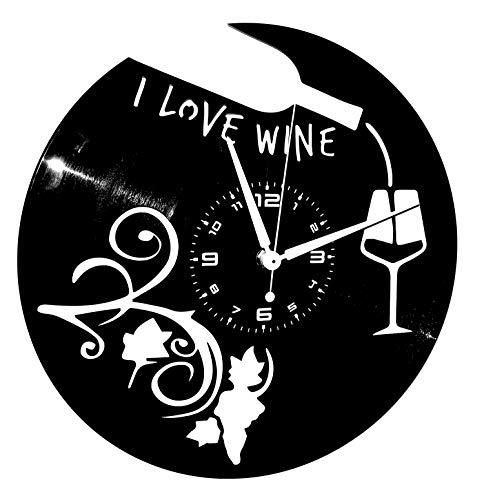 Instant Karma Clocks Orologio da Parete Disco in Vinile ENOTECA BIRRERIA Ristorante Pizzeria I Love Wine Vino UVA Cantina, Calice, Nero
