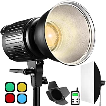 Travor TF-150A Bi-Color 150W LED Video Light with Bowens Mount 15000LM Super Bright Studio Photography Lighting with Barndoor Continuous Lighting for Portrait Photography Interview and Filming
