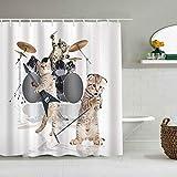Juego de cortinas de ducha de tela de poliéster con 12 ganchos de plástico, cortinas de baño decorativas, animal, fresco, elegante, duro, lindo rockero, banda de gatitos con cantante, guitarrista, gat