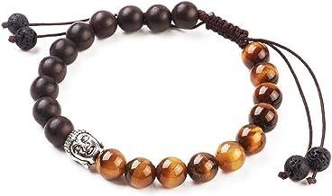 Pulsera de Perlas Naturales Budista, con Cabeza de Buda y Piedra de protección de Chakra, Ajustable, Piedra de Lava y Ojo de Tigre