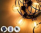 lichterkette Glühbirnen Außen,13.23m S14 LEDs Dimmbar & Timer & USB wiederaufladbar, IP65 Wasserdicht, Solarlichterkette für Gartenparty, Pavillon, Terrasse, Balkon Deko außen & innen, Warmweiß