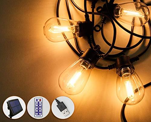 SBARTAR Catena di luci a LED a energia solare, 8,23 m, S14 LED, 12 in plastica IP65, impermeabile, luce bianca calda, 2700 K, dimmerabile e timer, per feste in giardino, terrazza, balcone