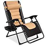 Best Choice Products Oversized Padded Zero Gravity Chair, Folding Outdoor Patio Recliner for Backyard, Beach w/Headrest, Side Tray, Textilene Mesh - Tan