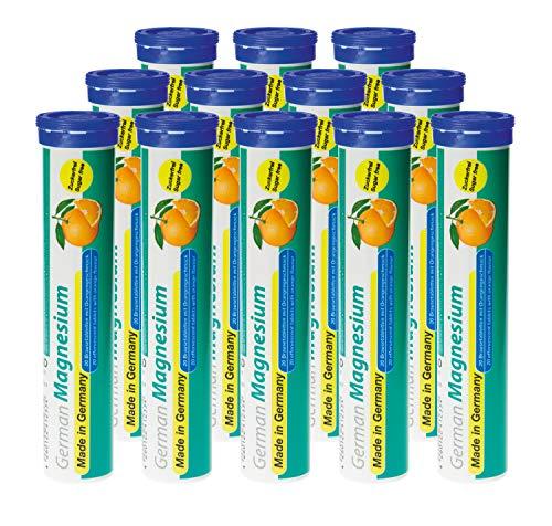 Magnesium Brausetabletten 12x20 Stk. Orangengeschmack – 200 mg Magnesium Zuckerfrei – T&D Pharma German Magnesium – Made in Germany