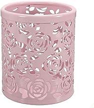 Saim Multi-Color Hollow Rose Flower Pattern Cylinder Pen Pencil Pot Holder Container Organizer (Pink)