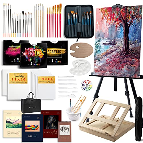 Modera Deluxe Artist Painting Set, 137-Piece Professional Art Paint Supplies Kit w/Field & Desk Easels, 70 Acrylic, Oil & Watercolor Paints, Brushes, Palettes, Canvases, Sketch Pads, Carry Bag & More