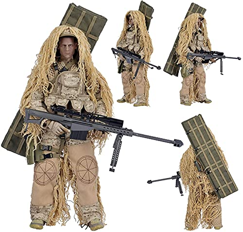 Figuras De Acción De Francotirador del Ejército A Escala 1/6 De 30 Cm con Traje Ghillie, Modelo Flexible De Soldado De Las Fuerzas Especiales con Accesorios De Armas Militares,Desert Sniper