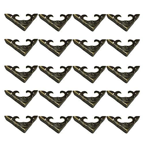 DELSEN 20 Stück Vintage Design Metallecken Eckenschutz Holzkiste Ecke Antike Box Ecke für Dekorative Kabinett Schmuckschatulle (30x30x4,5mm)