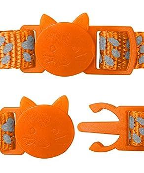 Taglory Collier Chat Anti Étranglement, 2 pcs Réglable Réfléchissant Collier pour Chat Chaton Chiot avec Clochette et Boucle de Sécurité, 19-32cm Orange