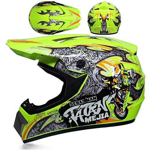 BUETR Casco todoterreno de motocross casco de rally completamente cubierto locomotora de alta competición bicicleta de montaña descenso casco de kart-L_Fluorescente amarillo